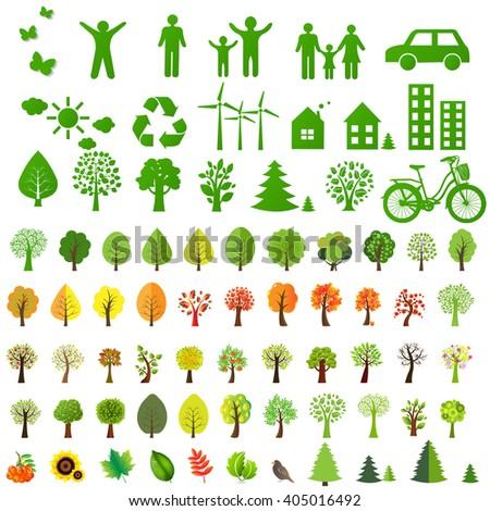 Big Eco Icons Set And Eco Symbol, Vector Illustration - stock vector