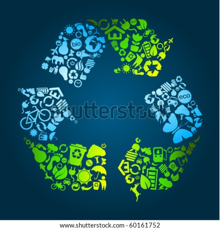 Big eco recycle icon made out of icons - stock vector