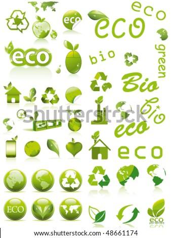 big eco set (see similar my gallery) - stock vector