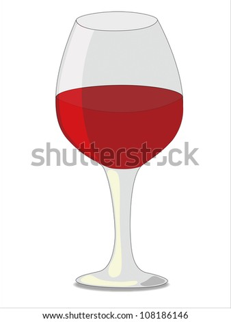 Big elegant glass of red wine isolated on white background