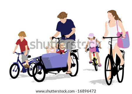 big family  bicycling, color version - stock vector