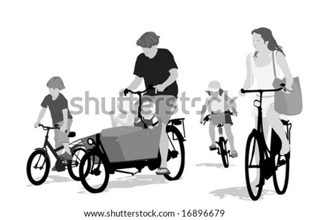 big family bicycling ,grayscale version - stock vector