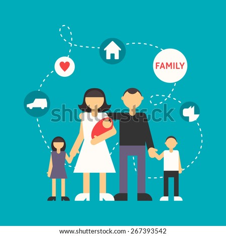 Big Family. Father, Mother, Son, Daughter and newborn baby. Flat Design Illustration with Icons - stock vector