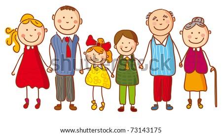 Big family (no gradients) - stock vector