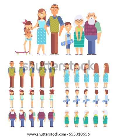Big family portrait vector set for design work and animation. Front, side, back view characters - mom,dad,children and grandparents. Cartoon flat vector illustration.