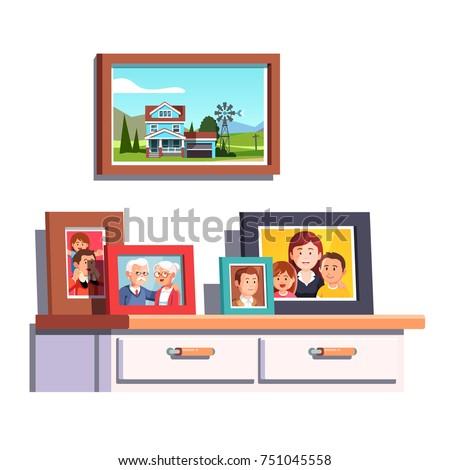 Big Family Relatives Portrait Photos Frames Vector de stock751045558 ...