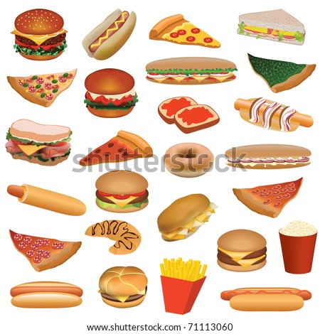 big fast food set - stock vector