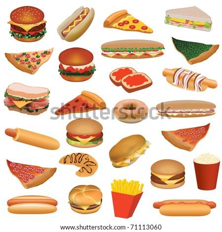 big fast food set - stock vector