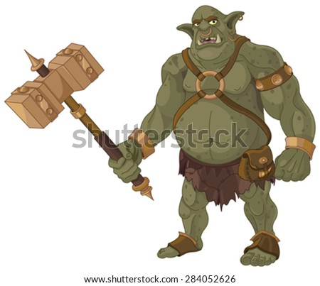 Big fat troll with wood hammer - stock vector