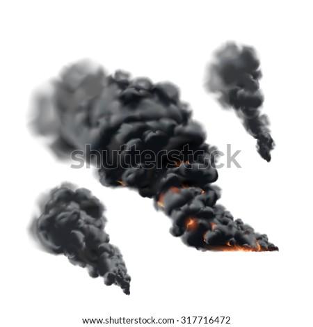 Big fire smoke set - stock vector
