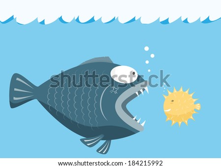 Big fish eat little fish. Fear of small fish concept. vector illustration - stock vector