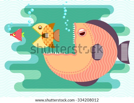 Big fish eat small fish. Business concept. Vector illustration. - stock vector
