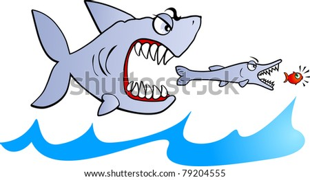 Big fish eat small fish, vector - stock vector