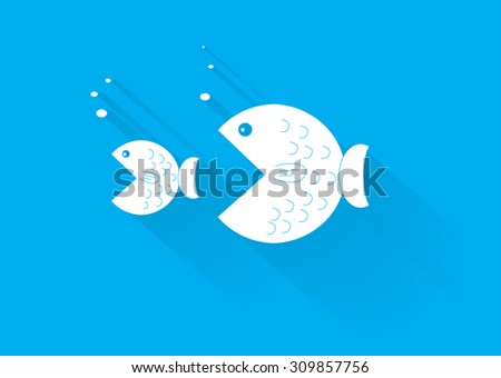 big fish eat the small - stock vector