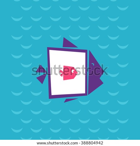 Big fish eat the small. Fish inside the fish at sea background. Creative flat vector illustration. Modern design of fish logo. - stock vector