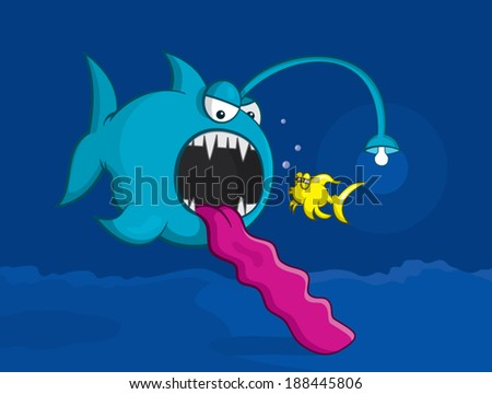 Big fish eating little fish fun cartoon vector - stock vector