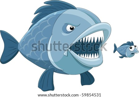 Big fish eats little fish - stock vector