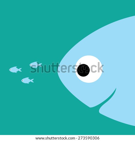 Big fish following little fishes - stock vector
