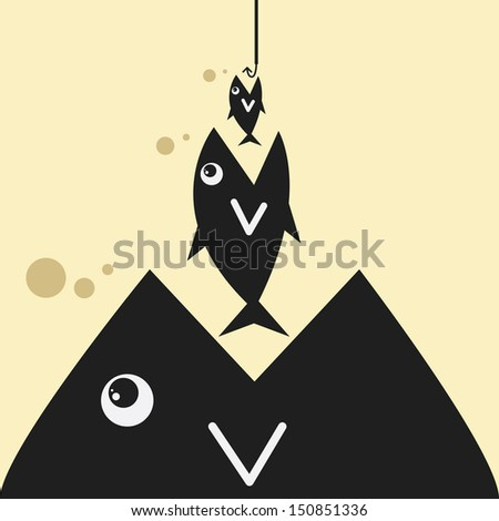 big fish with bait - stock vector