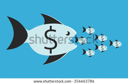 Big fish with dollar sign eating many small ones. Competition, merger, business, monopoly concept. EPS 8 vector illustration, no transparency - stock vector
