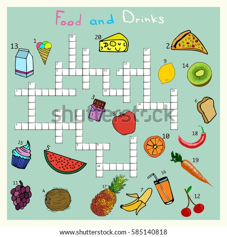 Big Food And Drink Crossword Words Game For Children Complete The Puzzle Educational