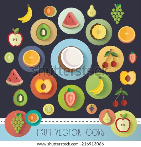 big fruit icon vector illustration collection in modern flat design style- colorful healthy organic food icons for websites - stock vector