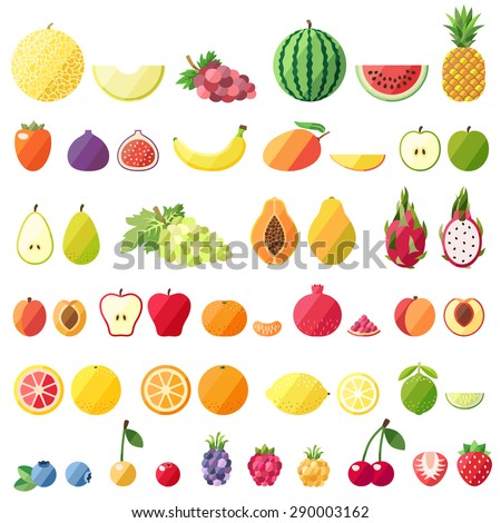 Big fruit vector set. Modern flat design. Isolated objects. Fruit icons. - stock vector