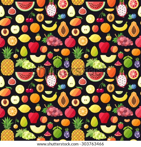 Big fruits seamless vector pattern. Modern flat design. Healthy food wrapping paper. - stock vector