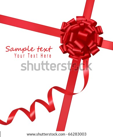 Big gift red bow with a ribbon. Vector. - stock vector
