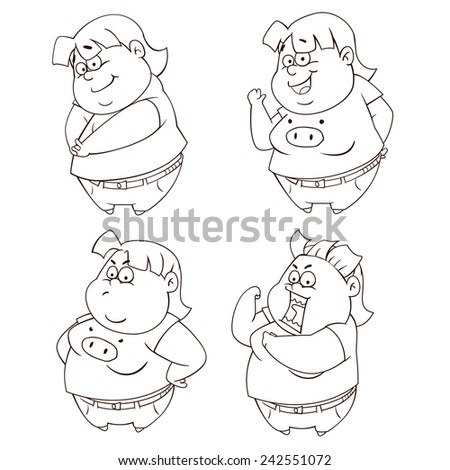 Big girl vector art and illustration. - stock vector