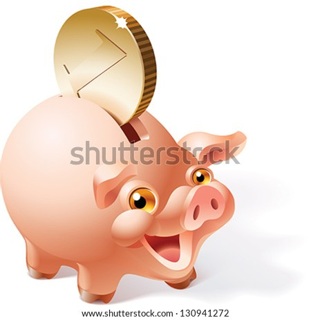 Big golden coin is dropping into a smiley pink piggy bank. Vector illustration. - stock vector