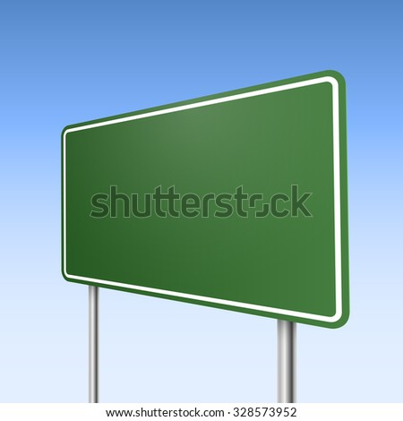 Big green direction road sign with blue sky background.