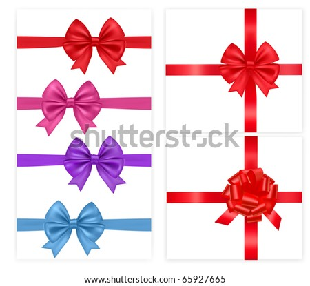 Big group of color bows with ribbons. Vector illustration.