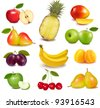 Big group of different fruit. Vector. - stock vector