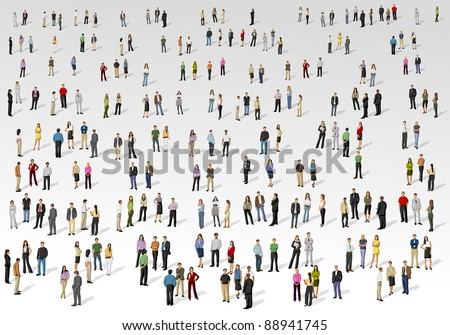 Big group of people on with background - stock vector