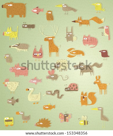 Big Grunge Animals Collection in colours, with grunge texture, on gradient grass background. Elements are isolated in a group, textures and shadows on separate layer, illustration in eps10 vector. - stock vector
