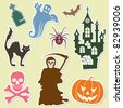 Big Halloween collection sticker with bat, pumpkin, ghost, element for design, vector illustration - stock vector