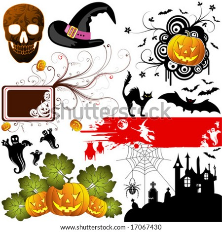 Big Halloween collection with bat, pumpkin, witch, ghost, element for design, vector illustration - stock vector