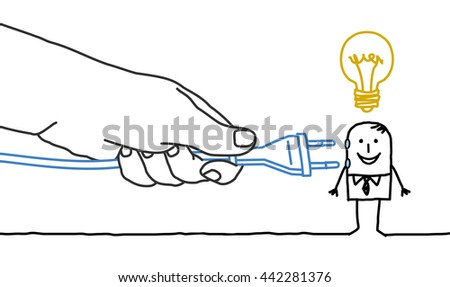Big hand and  businessman - plug in - stock vector