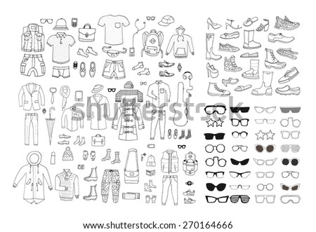Big hand drawn collection of trendy clothes, shoes and accessories. Look Book. Isolated.  - stock vector