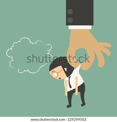 Big hand holding tiny businessman - stock vector