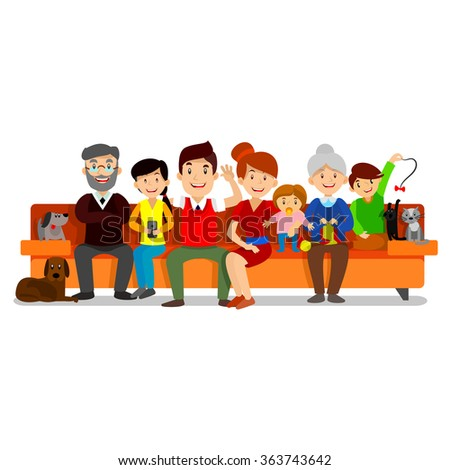 Big Happy Family sit on sofa. Parents with Children. Father, mother, children, grandpa, grandma, dog and cat. - stock vector