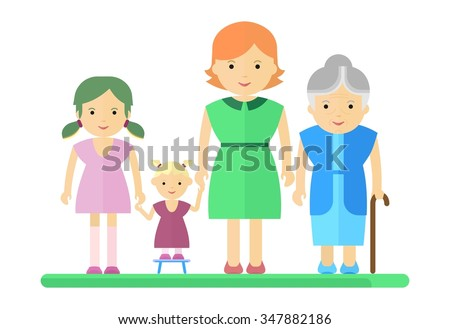 Big happy harmonious family. Mother, daughter, granddaughter, grandmother Objects isolated on a white background. Flat vector illustration. - stock vector