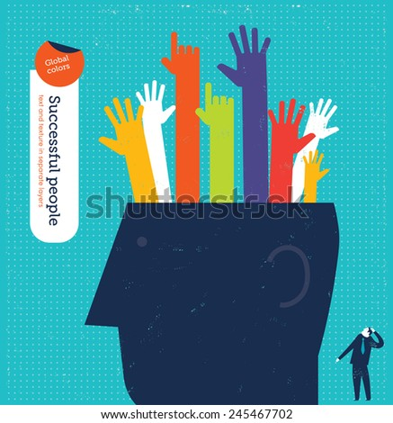 Big head with many hands. Vector illustration Eps10 file. Global colors. Text and Texture in separate layers. - stock vector