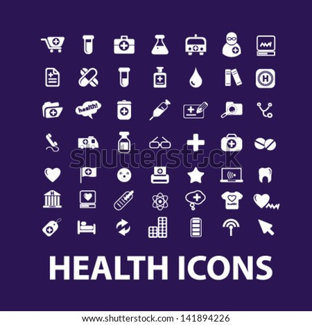 big health, hospital, medical icons, signs set, vector - stock vector