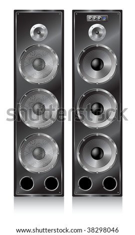 Big high speaker stereo systems. - stock vector