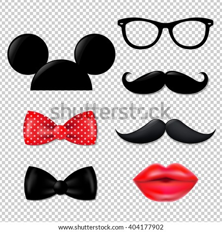 Big Hipster Set, Isolated on Transparent Background, With Gradient Mesh, Vector Illustration - stock vector