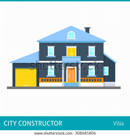Big house. Villa.  Buildings for city construction. Set of elements to create urban background, village and town landscape.  Flat style vector illustration.