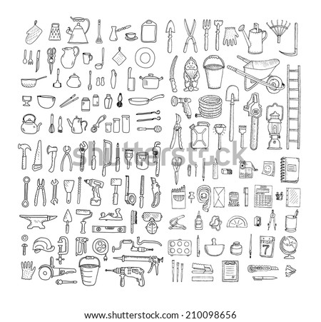 Big household objects set. Kitchenware. Set  of stationery. Garden tools. Construction tool collection. Doodles. Isolated. - stock vector