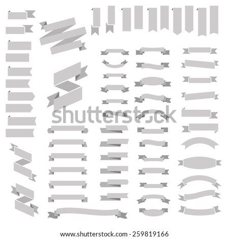 Big Huge Biggest Gray set of Ribbons and Labels in Vector Retro and Vintage for All Purposes - stock vector